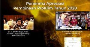 Tanggamus Kembali Raih Penghargaan Proklim dari Menteri Lingkungan Hidup