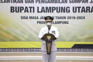 Gubernur Lampung Lantik Budi Utomo Jadi Bupati Lampung Utara