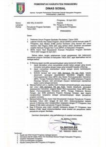 Dinas Sosial Pringsewu Setop PT Pringsewu Jaya Madani Jadi Supplier Bantuan Pangan Non Tunai