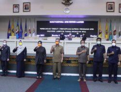 Rapat Paripurna DPRD, Fahrizal Darminto Serahkan Nota Keuangan APBD Perubahan Provinsi Lampung 2021 ke Ketua DPRD Lampung