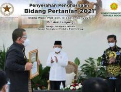 Torehkan Prestasi, Gubernur Lampung Terima Penghargaan Abdi Bakti Tani 2021